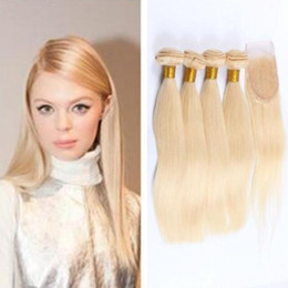 Good Quality 8A Grade 3 Bundles Hair With Free Part 4*4inch lace Closure Color 613# Blonde Brazilian Virgin straight hair Extensions