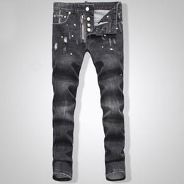 Wholesale Kmo new men s jeans dsq classic men d2 skin tight jeans men s high quality iron anchor hole Jeans male