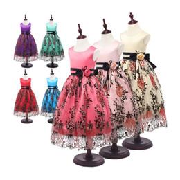 Faldas para las muchachas de los niños en Línea-Niños Niñas Princesa Preciosa Vestido sin mangas de encaje vestido de gasa de la boda de los niños Evento Vestido Rose Falda brote de seda bordado