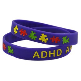 Wholesale Shipping 100PCS Lot ADHD Awareness Puzzle Wristband Silicon Bracelet For Chrity Foundation Activity Promotional Gift