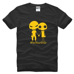 2017 parodia divertida Par de esqueleto Camiseta divertida de la camiseta del algodón de la manga de la manera 2017 de los hombres t de la parodia divertida nueva barato parodia divertida