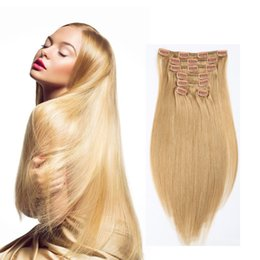Free shipping brazilian virgin hair extnsions #27 blonde 70g-220g long straight clip in on human hair extensions cheap price