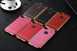 100pcs For iphone 7 7 Plus Phone Case Litchi grain Silicone Case Plating TPU Soft Cases Leather Pattern Cover Protective Shell Case