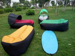 Wholesale With Sunshade tent Lazy Bag Laybag Sleeping Bag Fast Inflatable Camping Air Sofa Sleeping Beach Bed Air Bed Lounger HHA1136