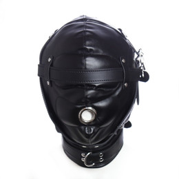 HOT TIME Erotic Sex BDSM Bondage Leather Hood for Adult Play Games Full Masks Fetish Face Blindfold for Gay Couple Games
