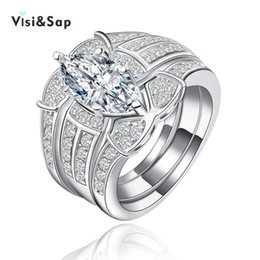 Visisap White gold color Ring Sets Multifunctional engagement rings for women vintage Jewelry wedding bands female bijoux VSR123