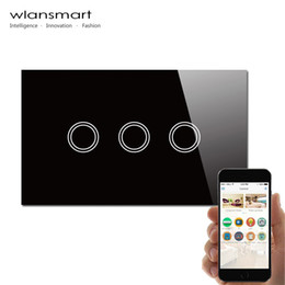 Wlansmart,smart phone Remote 3Gang Wall touch Switch,US AU Standard,RF 433MHz,control lamps by broadlink, Black Crystal Glass