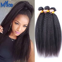 MikeHAIR Mongolian Kinky Straight Remy Hair Wefts Wholesale 8-30In Cheap Human Hair Weaves 3Pcs Brazilian Cambodian Indian Hair Bundles Deal