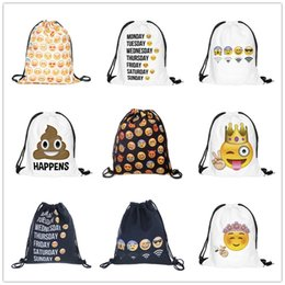 9 Designs Drawstring Bags Sacs de voyage Emoji Pattern Cute Backpack Kids School Bag Sac à main mignon Sac à bandoulière Sac Enfant Party Gift à partir de fabricateur