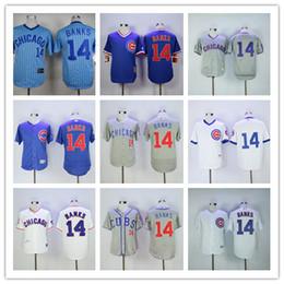Wholesale Good Chicago Cubs Ernie Banks Jersey Baseball Flexbase White Blue Gray Cream Ernie Banks Retro Throwback Shirts Uniform