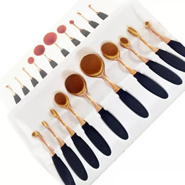 2017 10 Gold Professional Soft beauty Toothbrush Makeup Brush Sets Foundation Brushes Cream Contour Powder Blush Lip Concealer Oval Brushes