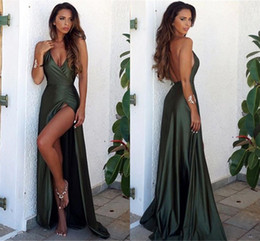 Hunter Green Sexy Backless Prom Dresses 2017 Plunging V Neck High Split Evening Gowns Cheap Red Carpet Fashion Wear Long Party Dress