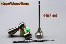 Wholesale In Bong Tool Set Adjustable Domeless GR2 Titanium Nail Carb Cap Dabber Tool Slicone Jar Fit Dab Water Bongs DHL