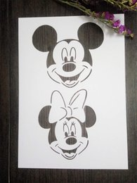 DIY white stencils children pattern design Masking template For Scrapbooking,cardmaking,painting,DIY cards-Mickey and Minnie Mouse 206