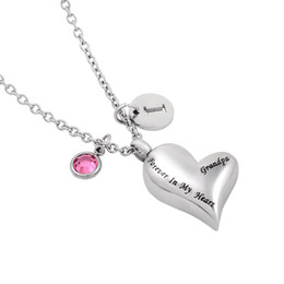 """Forever in My Heart"" Memorial Cremation Jewelry Stainless Steel Funeral Ashes Urn Pendant Necklace"