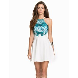 Wholesale 2017selling supply aliexpress Europe sleeveless Sexy Halter Neck Dress Skirt hanging printing spot