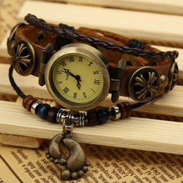 Leather Bracelet Watch Vine Beaded table Wrist jewelry length 21.5CM width 1.2CM for lovers