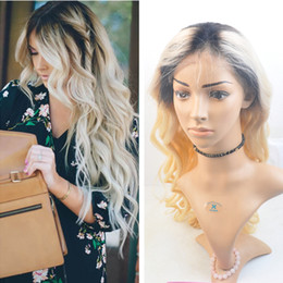 Ombre Blonde Dark Root Full Lace Wigs Brazilian Body Wave Full Lace Wig Human Hair #1b 613 Blonde Lace Front Wigs For Women