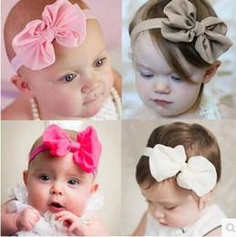 Baby the age of one hundred days the infant child girls hair hoop hair hair with big chiffon bow in Europe and the head ornaments