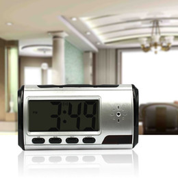 Wholesale Clock spy camera Spy hidden camera sliver Clock High definition HD M With Remote Control hrs working time