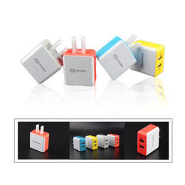 Top Colorful Square 5V 2.1A Dual USB US Charger Charging Adapter For Apple Samsung Any Phone Tablet Computer DHL