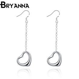 Bryanna 925 sterling silver dangling earrings for women Fashion Jewelry Wholesale Wedding Gifts heart long drop earrings E2086
