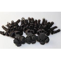 Brazilian Hair Natural black color Human Hair Malaysian Indian Peruvian Brazilian Spanish curly hair Bundles Hot Sell