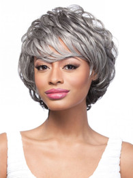 Wholesale Sexy Gray Wigs - Highlights Sexy Fashionable wigs Cheap Short gray Synthetic Hair Wigs Free Shipping