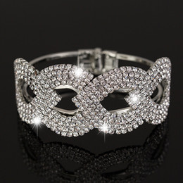 Wholesale price New Fashion sliver plated Crystal rhinestone Cuff Bangle Bracelet Women Jewelry B018