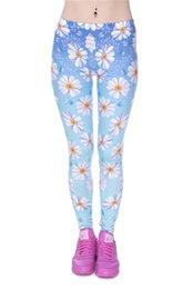 Elasticidad de moda azul margarita Ombre Impreso moda Slim fit legging pantalones Polyester Casual pantalones polainas para las mujeres desde polainas de la impresión de poliéster proveedores
