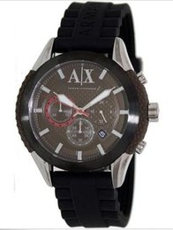 Les brown en Ligne-Exchange AX1224 Hommes Black Rubber Band Brown Dial Montre Chronographe