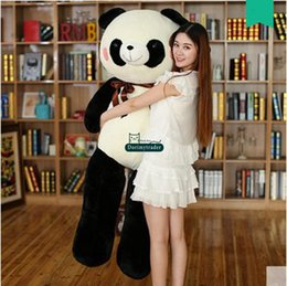 2017 coussins en peluche farcis Dorimytrader Hot Pop 140cm Huge Peluche Peluche Plush Toy 55 '' Grand Peluches Rondées Pandas Poupée Oreiller Hug Bear Présent DY60021 coussins en peluche farcis autorisation
