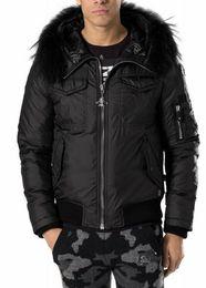 Wholesale Winter Warm Men s Jacket PP Philipp Plein Outdoor Hooded Men Fur collar Outerwear Thick Jacket Hoodies Down Coats PV