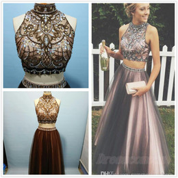 Wholesale Real Image New Two Pieces High Neck Tulle Long Prom Dresses Lace Applique Beaded Stones Top A Line Floor Length Party Evening Dresses