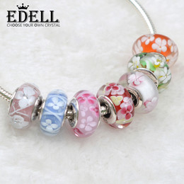 EDELL 2017 Newest fashion loose beads 925 Sterling Silver Murano Seven colors optional Glass Charm Bead For Pandora Bracelet Gift With