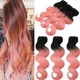 Ombre Brazilian Human Hair Weaves T1b Rose Gold Two Tone Body Wave Hair Bundles 8A Grade Virgin Hair Weaving Extensions 3pcs 4pcs