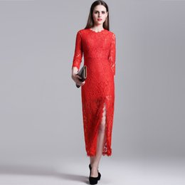 2017 Spring New Pattern Round Neck Fivepence Sleeve Vent Fish Tail Skirt Pendulum Hook Flower Hollow Out Lace Full Dress Longuette Dress