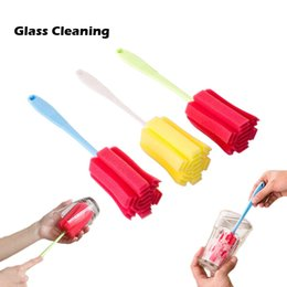 Manufacturer Supply High Quality Household Cleaning Tools Colorful Cleaning Brushes For Glasses And Tea Cup Sponge Brushes Plastic Handle