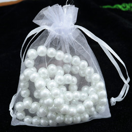 Wholesale Cheap Wholesale Jewelry Bags - White Organza Pouches with drawstring Pearl Earrings Golden Ring vintage Nnecklace Braceklets Bags cheap Jewelry Gift Packaging Bag