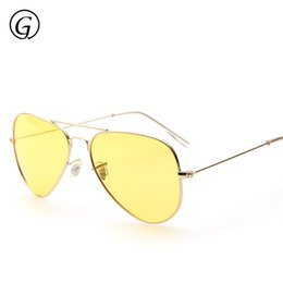 Promotion or gros cadres lunettes Vente en gros-2016 de haute qualité de luxe de marque Pilot Pilote vision nocturne Lunettes de conduite Polarized soleil verre jaune lentille 62mm or cadre
