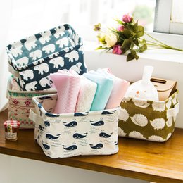 Wholesale Desktop Sundry Receive Small Storage Cute Linen Desk Storage Box Holder Jewelry Cosmetic Stationery Cloth Organizer Case