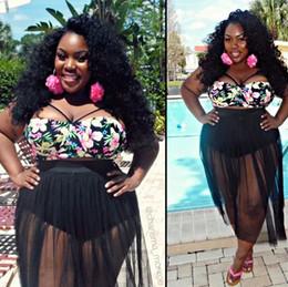 Descuento xl negro tankini La venta al por mayor más tamaño 4XL bikinis de las mujeres traje de baño negro de la playa traje de baño atractivo 2017 más traje de baño del tamaño mujeres trajes de baño de la impresión floral