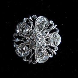 Silver Plated Clear Rhinestone Crystal Small Flower Brooch