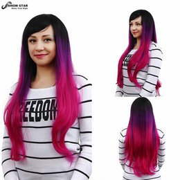 "Free Shipping Black Purple Pink Ombre Wig Cosplay Long Wavy with Bangs Perruque Synthetic Women Kanekalon Wig Pelucas Peruca 30"" Cosplay wom"