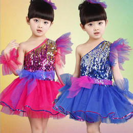 Sequined Blue Girls Modern Jazz Dancewear Dress kids Ballroom Hip Hop Party Performance Stage Wear Dancing Costumes 110-160