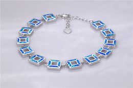Wholesale & Retail Fashion 7.5 Inches Fine Blue Fire Opal Bracelet 925 Silver Plated Jewelry BNT16022708