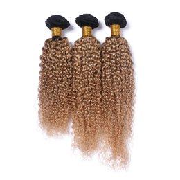 24 profonds faisceaux de cheveux bouclés à vendre-Ombre Blonde Cheveux Cheveux Musclés Brésilien Cheveux Cheveux Bouclés Extrême 3 Bundle Deux Tons Couleur T1B / 27 Bouclés Bundles Prix de gros