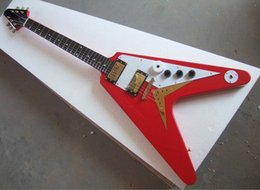Hot Sale Factory Custom Red Flying V Shape Electric Guitar with the Mahogany Body and Neck,Gold Hardwares,Can be Customized