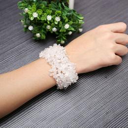 Wholesale La perla cristalina del cuarzo de la roca rebordea la pulsera del brazalete de la venda la joyería cristalina de la joyería de pz