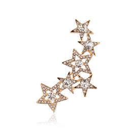 Punk Girl Jewelry Ear CuffFull Rhinestone Hollow Out Crystal Star Earcuff Women Gifts Party Gift Clip Earrings